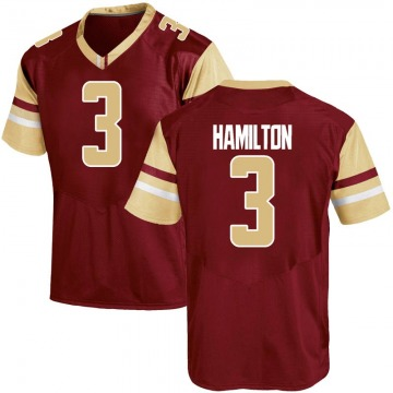 Men's Jared Hamilton Boston College Eagles Under Armour Replica Maroon Team Color College Jersey