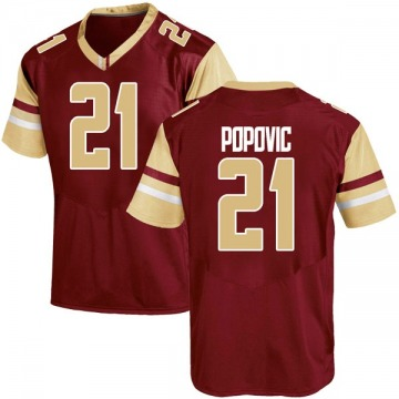Men's Nik Popovic Boston College Eagles Under Armour Replica Maroon Team Color College Jersey