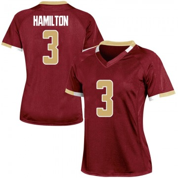 Women's Jared Hamilton Boston College Eagles Under Armour Game Maroon Team Color College Jersey