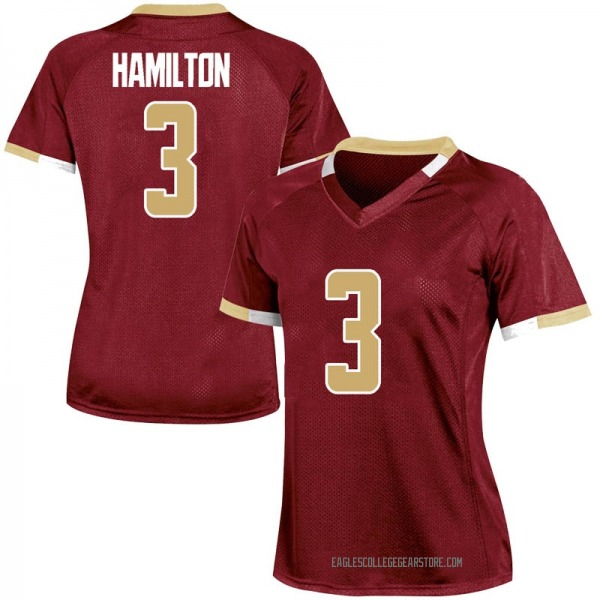 Women's Jared Hamilton Boston College Eagles Under Armour Replica Maroon Team Color College Jersey