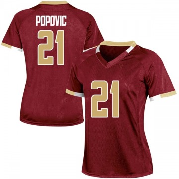 Women's Nik Popovic Boston College Eagles Under Armour Replica Maroon Team Color College Jersey